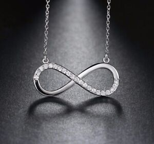 Infinity Charm Pendant Forever Figure 8 Symbol Sterling Silver Crystal Necklace