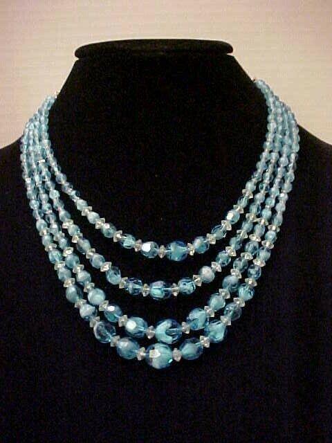 Blue gemstone Seed bead necklace Elegant gift for her Cobalt blue necklace Sky blue necklace
