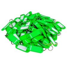 (Lot of 100) Key ID Tags Labels Keychain Split Key Ring Name Tag Green USA Ship