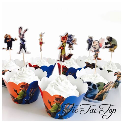 Party Supplies Lolly Loot Bag Animal 12x Zootopia Cupcake Toppers Wrappers