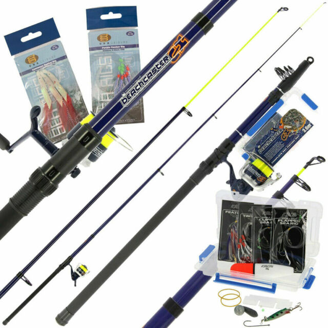 Sea Fishing Telescopic 12ft Beachcaster Rod and Reel Combo Tackle Set And Line