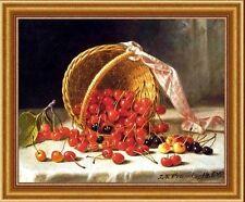 "A Basket Cherries John F Francis 11""x14"" still life canvas print"