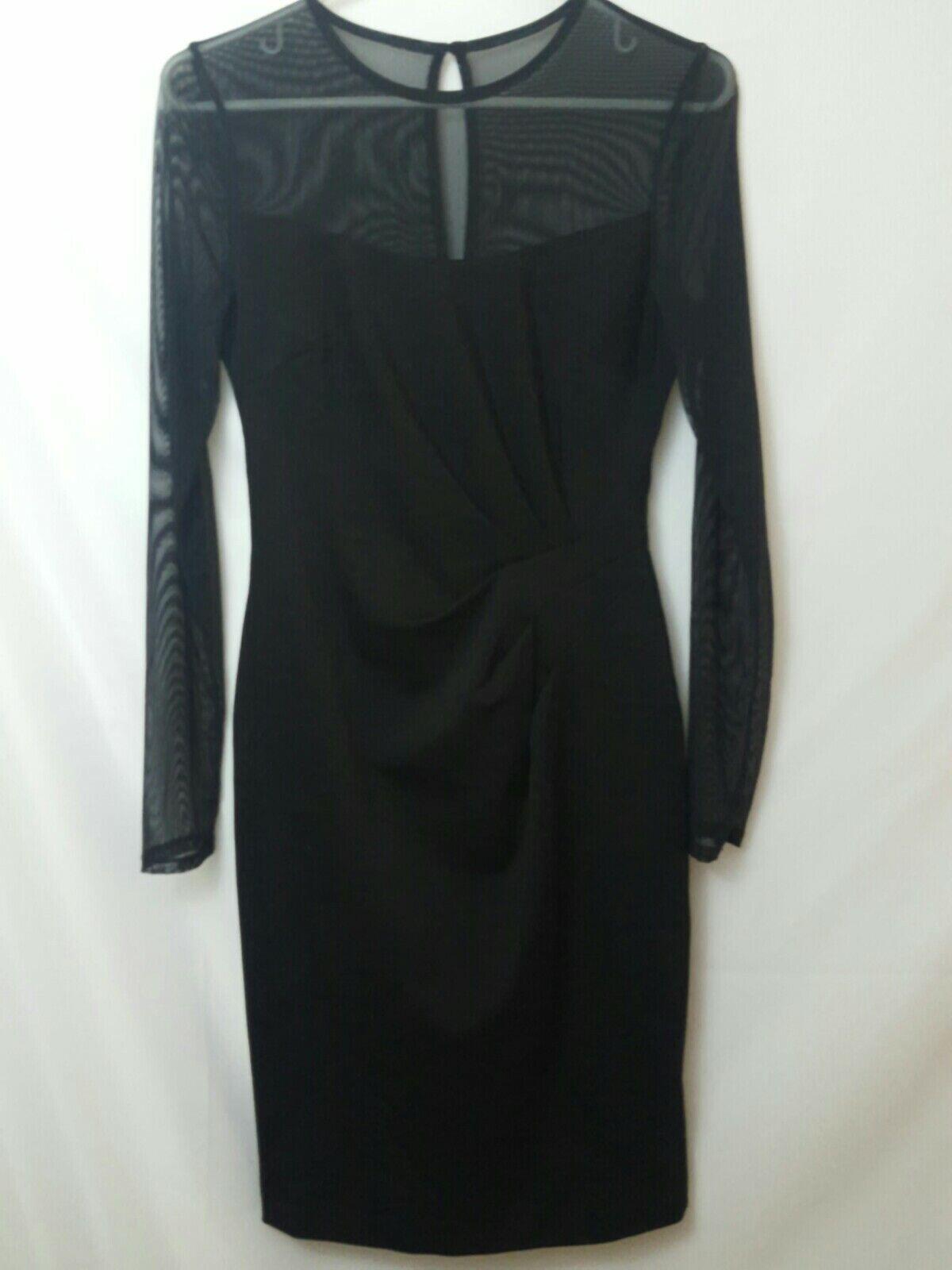 NEW Cache schwarz sheer long sleeve ruched schwarz dress Größe 6