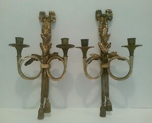 Details About Vintage Pair Double Arm French Rococo Style Wall Sconce Candle Holder