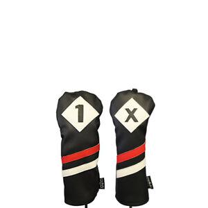 Majek-retro-golf-1-x-Driver-Fairway-Bois-Voile-Noir-Rouge-en-Cuir-Blanc-Style