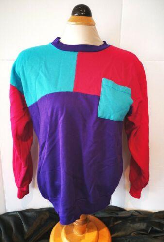 Vintage Impromptu Color Block Sweater Small