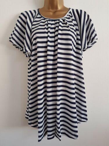 NEW Ann Harvey Plus Size 16-32 Angel Sleeve Blue White Striped Tunic Top Blouse