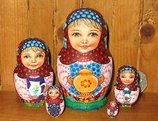 Genuine Russian Dolls 5 Girls SOKIRKINA Small HAND PAINTED Matrioshka Tea Set