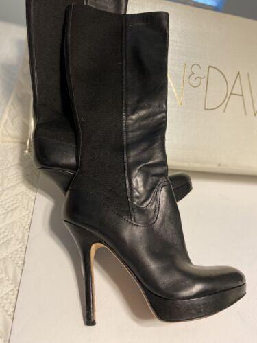 JOAN & DAVID dafaron black stretch leather boots 8