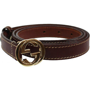 ce638bc4760 GUCCI GG Logos Gold Buckle Brown Belt 34 Leather Italy Vintage ...