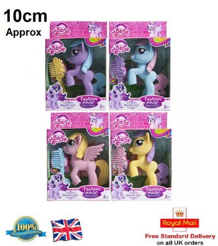 10 cm FANTASY PONY avec Cheveux Brosse My Little Pony Poney Filles Figure Jouet Cadeau UK