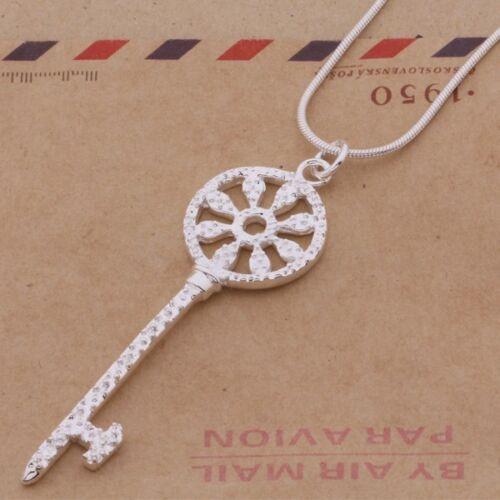 chaîne maille serpent 46 cm Pendentif Clé en forme de roue  plaqué argent 925