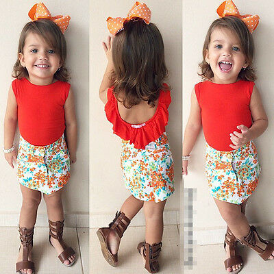 2015 Summer Kids Baby Girls Ruffled Tops+Floral Mini Skirts 2pcs Set Outfit 1-7Y