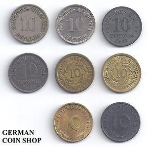 8 X 10 Pfennig Set Aller 10 Pfennig Münzen 1873 1945 Deutsches