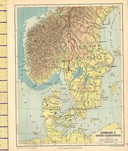 MAP DENMARK SOUTH SCANDINAVIA PHYSICAL JUTLAND NORWAY - Sweden map physical