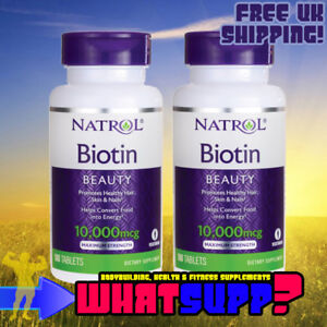 2 x Natrol BIOTIN 10,000mcg x100 MAXIMUM STRENGTH Hair Loss, Skin & Nails Vit B7