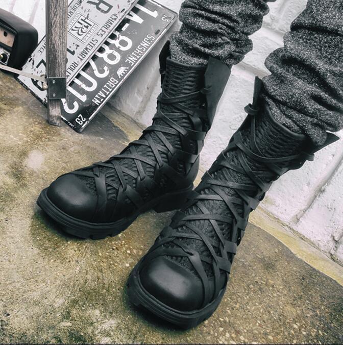 Hommes Balck Punk à Lacets Moto British High Top chaussures military bottes X956