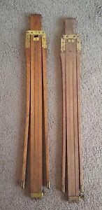 "2 Antique Oak & Brass Colapsing 56"" Surveyor Stand? No. 2 Steampunk Repurpose"