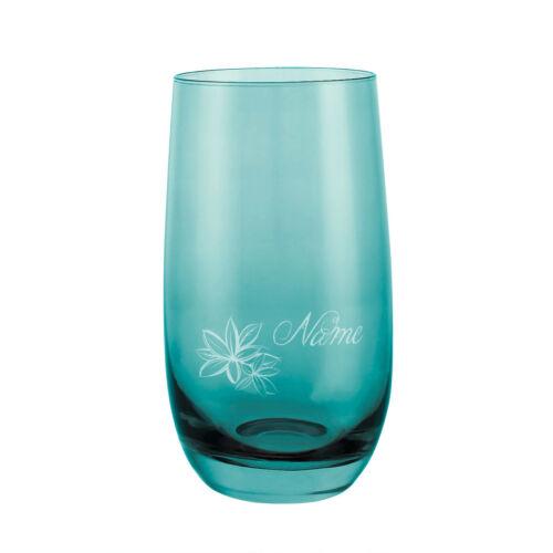 Motiv Farbe Laguna tropische Blüte Leonardo Sora Trinkglas mit Gravur