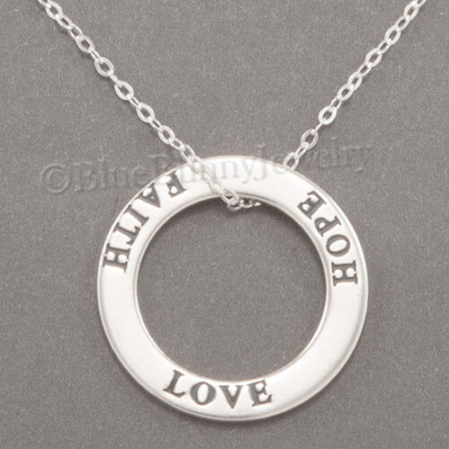 LOVE FAITH HOPE Necklace Charm Pendant in circle 925 STERLING SILVER 18 chain