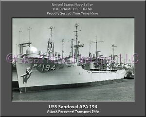 Details about USS Sandoval APA 194 Personalized Canvas Ship Photo Print  Navy Veteran Gift