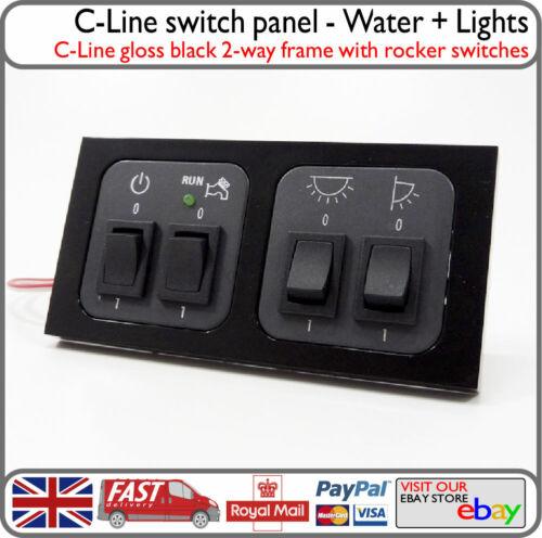 C-Line Black Switch Panel 12v Water Pump Lights Awning Lights Motorhome VW Van