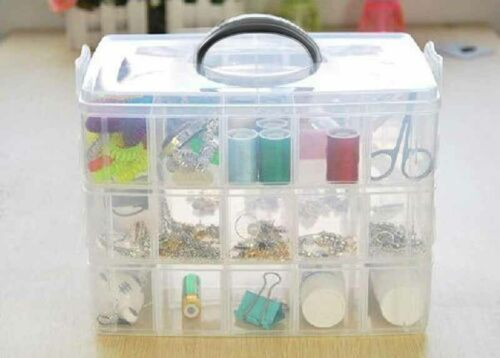 Transparent Adjustable 3 Layers 18 Compartment Craft Beads Jewellery Storage Box