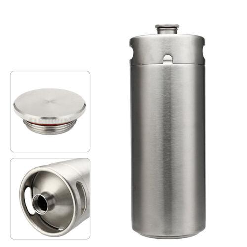 4L Stainless Steel Big Beer Keg Bottle Growler for Wine Brew Pot Screw Cap Home