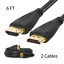 2x-PREMIUM-HDMI-CABLE-6FT-For-BLURAY-3D-DVD-PS3-HDTV-XBOX-LCD-HD-TV-1080P thumbnail 1
