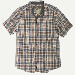 Clearwater Outfitters - Mens M - NWT - Maroon/Navy Blue Plaid Short Sleeve Shirt