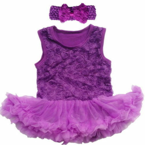 Rose Flower Baby Bodysuit Baby Romper Baby Tutu Dress with Headband