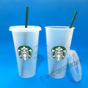 140dc1b2e6d Details about NEW Lot of 2 Starbucks Reusable Frosted Ice Cold Drink Cup 24  oz