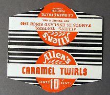 1950's ALLEN'S CARAMEL TWIRLS wrapper header 10 Cents Montreal Canada