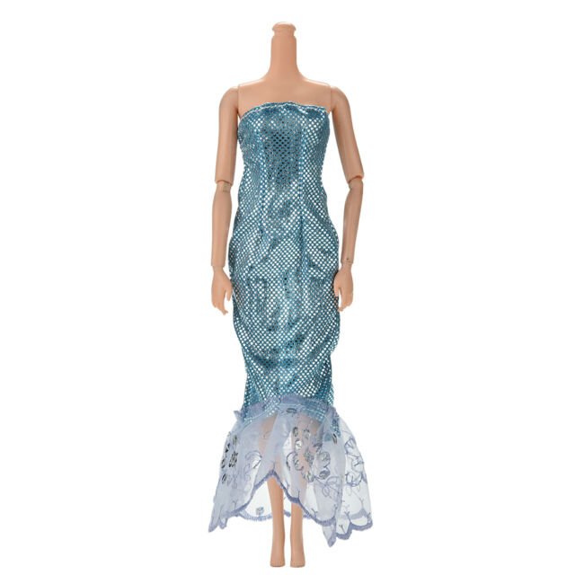 "1 Pcs Fashion Sequin Sky Blue Mermaid Dress for 11"" s Dolls New Beauty %W"