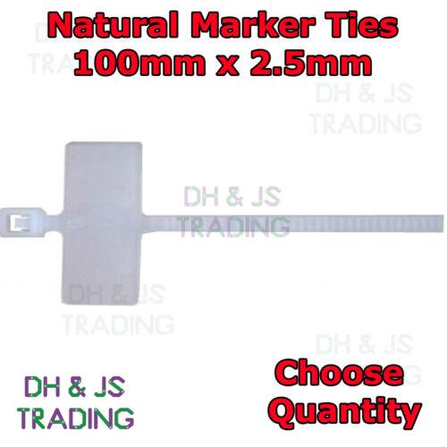 Atadura de cables lazos marcador natural marcador escritura en la etiqueta de la etiqueta de documento de identidad Lazo 100mm X 2.5mm