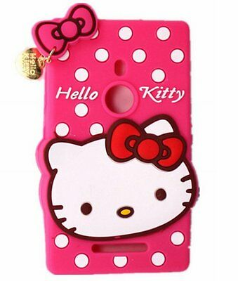 For Nokia Lumia 925 - RED HELLO KITTY Charm Soft Silicone Rubber Skin Case Cover