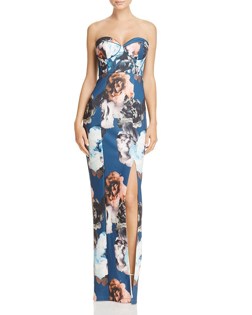 400 BARIANO WOMENS blueE orange WHITE FLORAL STRAPLESS EVENING GOWN DRESS SIZE S
