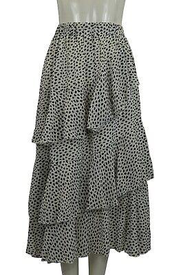 Gut Ausgebildete Women's Girl's Printed Tiered Layered Ruffle Midi Party Skirt Blue Black White Unterscheidungskraft FüR Seine Traditionellen Eigenschaften