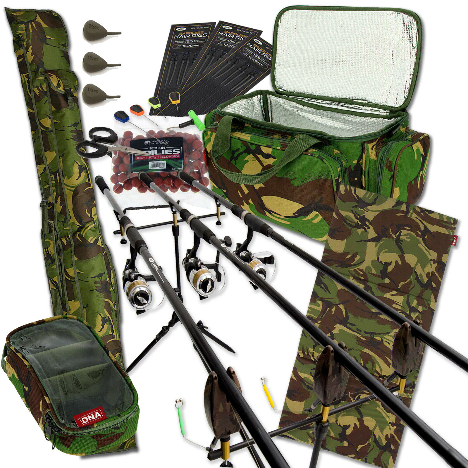 Autop Fishing 3 Rod en Reel met Camo Autoryall Rod Holdall Tackle.