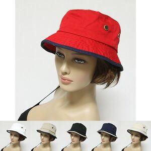 2ab036766df New Bucket Hat Cap 100% Cotton Fishing 2 Tone Brim Hiking Sun Safari ...