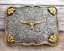 Texas Longhorn Steer Skull Brass & Pewter Vintage Belt Buckle