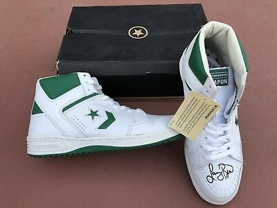 Larry Bird Signed White/Green Converse