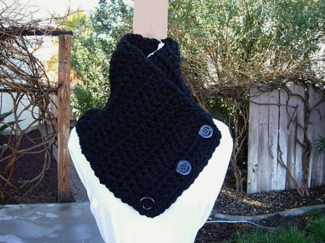 RESERVED LISTING for Felingirie: Large Solid Black Neck Warmer, Three Buttons
