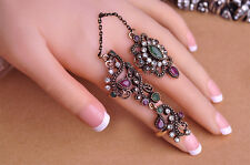 UNIQUE VINTAGE STYLE TURKEY JEWELRY ANTIQUE FINISH GOLD PLT EMERALD RUBY CZ RING