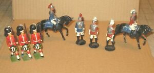 """6 Infantry & 2 Calvary on Horses Metal 2"""" Soldiers - Scottish, English, French?"""