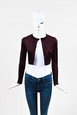 Alaia Purple Velour Cropped LS Button Up Cardigan Sweater SZ 36