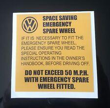 VW MK2 GOLF CORRADO VR6 G60 16V SPACE SAVER EMERGENCY SPARE WHEEL STICKER