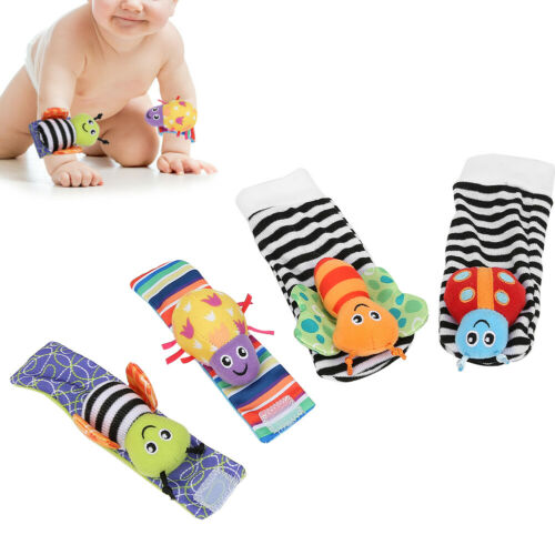 4Pcs Baby Toy Baby Rattles Toys Animal Socks Wrist Strap with Rattle Baby Foot