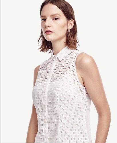 Ann Taylor Sleeveless Eyelet Perfect Shirt Blouse  $69.50 White  NEW