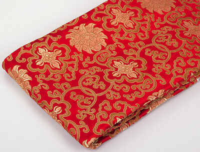 "28"" TIBETAN FOLK RETRO DAMASK JACQUARD BROCADE FABRIC: LOTUS DORJE, GOLD & RED"